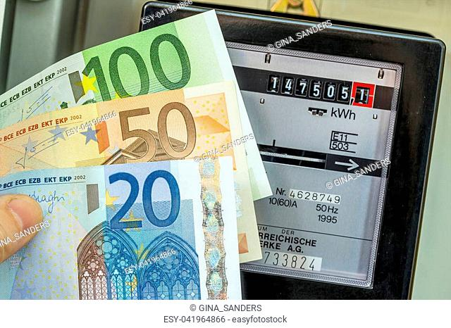 Euro bill and electricity meter Stock Photos and Images | age fotostock