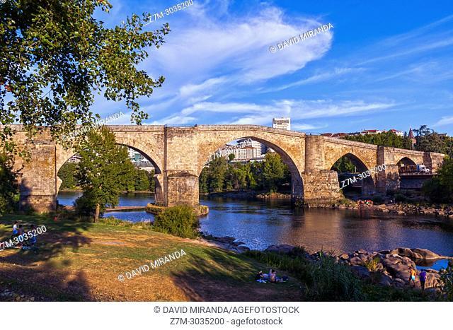 Roman bridge over river Miño. Ourense. Galicia. Spain