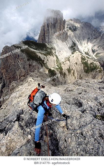 Via ferrata Passo Santner, Catinaccio group, Dolomites, South Tyrol, Italy