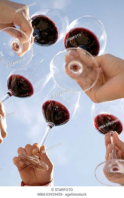 Wine-tasting, wine glasses, drinking a toast, detail, heaven, hands, outside