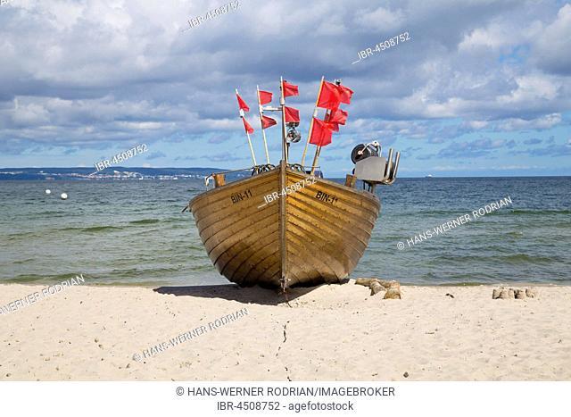 Fishing boat on sandy beach, Binz, Rügen, Germany
