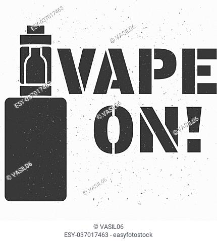 Stamp or emblem of an electronic cigarette with an inscription vape on