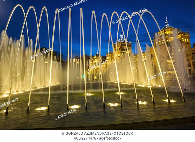 Fountain at Jose Zorrilla Square and Cavalry academy , Valladolid, Castilla y Leon, Spain
