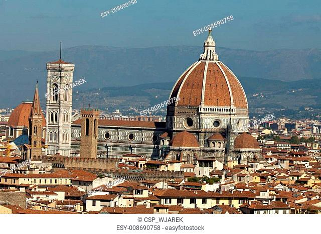 Cathedral of Florence Italy, View from the Michelangelo's Piazza