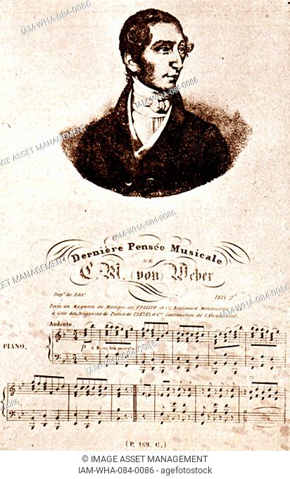 Portrait and 'Last Musical Thought' of Carl Maria von Weber (1786-1826) a German composer, conductor pianist, guitarist and critic. Dated 19th Century