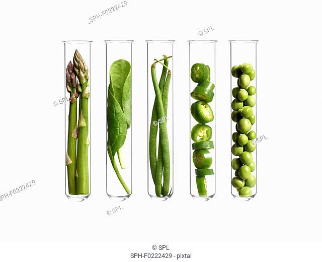 Vegetables in test tubes