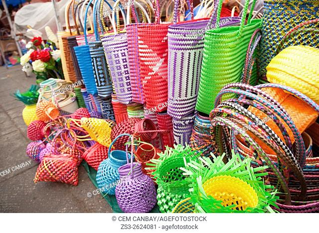 Colorful mesh bags for sale at the street in the historic center, Oaxaca, Oaxaca State, Mexico, North America