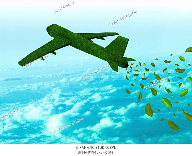 Aeroplane running on green fuel, illustration