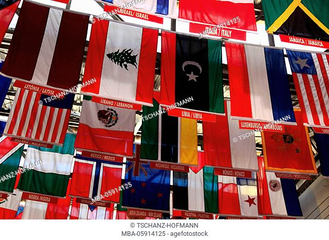 International flags at the railway station of the Corcovado railroad, Rio de Janeiro, Brazil