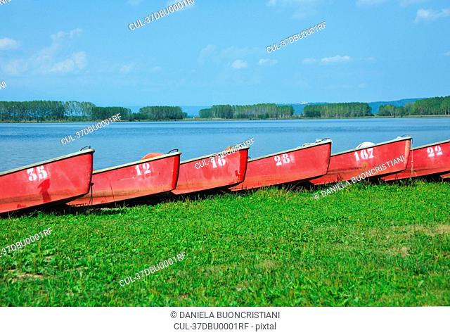 Numbered boats docked by lake