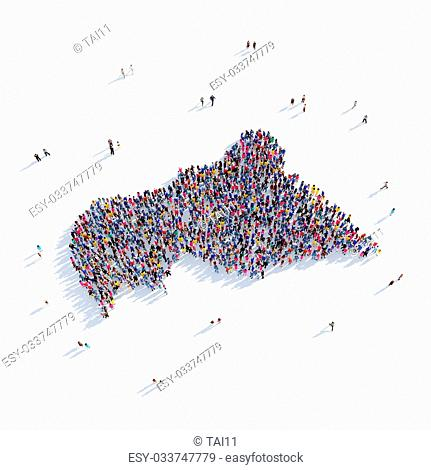 Large and creative group of people gathered together in the form of a map Central African Republic, a map of the world. 3D illustration