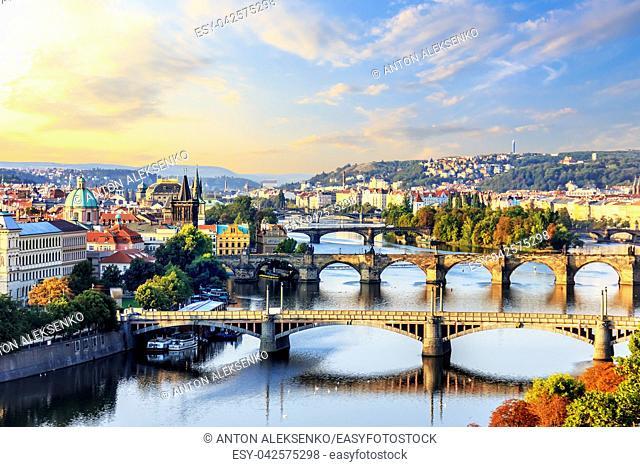 Bridges of Prague at sunrise, view from Prague Metronome