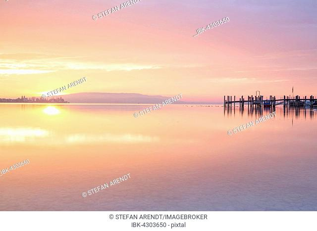 Evening mood with sunset, Allensbach on Lake Constance, Baden-Württemberg, Germany