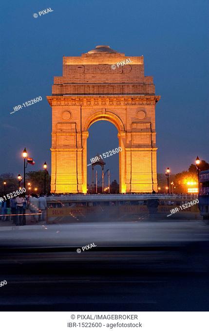 India Gate at night, vibrant, New Delhi, India, Asia