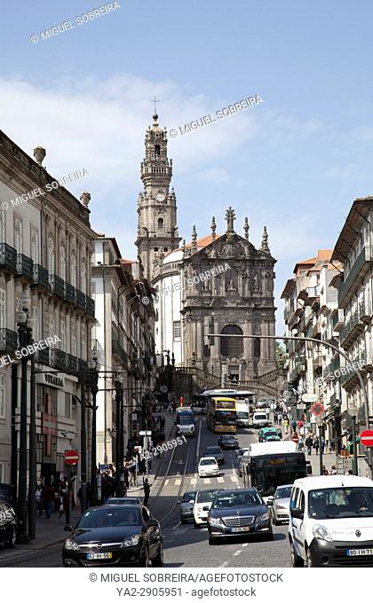 Rua dos Clerigos with Clerigos Church and Bell Tower in Porto - Portugal