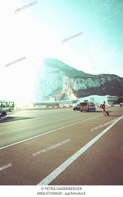 On the runway of the airport Gibraltar with view on the rock