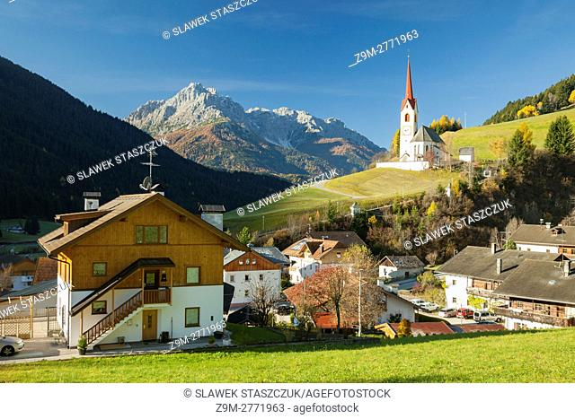 Iconic alpine church in Winnebach, South Tyrol, Dolomites, Italy