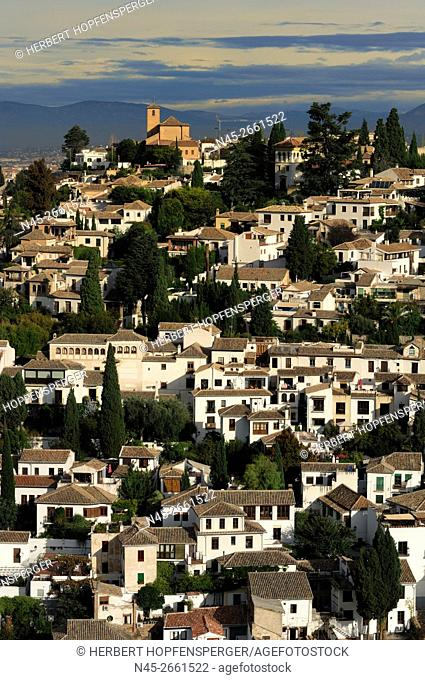 View over Granada from the Alcazaba, Alhambra Palace, Granada, Andalucia, Spain, Europe