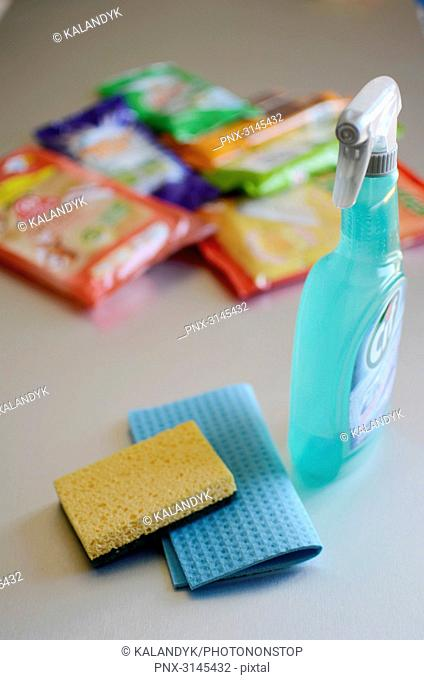 Photo studio, composition of different sponges, cleaning wipes and cleaning products