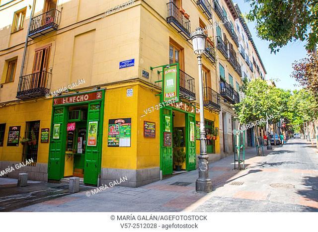 Typical tavern in Las Huertas street. Madrid, Spain