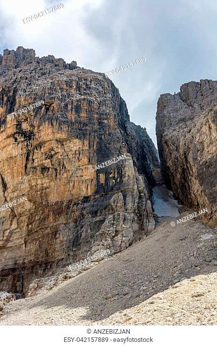 Beginning of glacier valley. Brenta Dolomites, Italy