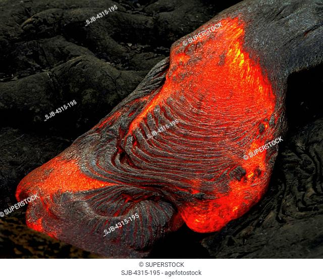Fresh Lava Oozing From Pahoehoe Tube