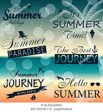 Vintage summer calligraphic elements design labels collection. Vector illustration