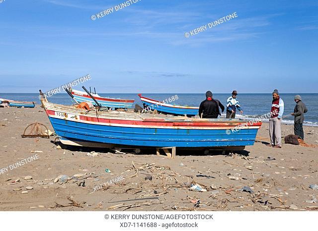 Morocco Mediterranean Coast Et-Tleta-de-Oued-Laou Beach with fishing boats