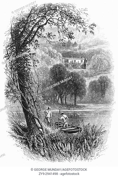 1870: Boatmen in Coniston Wate, with the house of John Ruskin, the leading English art critic of the Victorian era, as well as an art patron, draughtsman