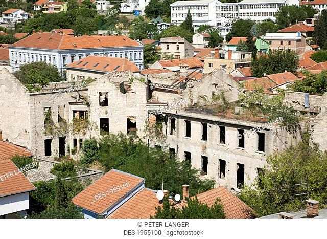 Bombed Out Building, Mostar, Herzegovina-Neretva, Bosnia And Herzegovina