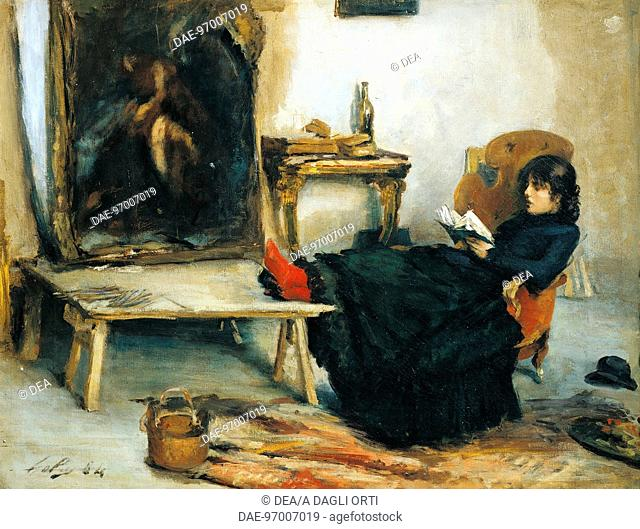 In the study, by Emilio Gola (1851-1923), oil on canvas, 50x65 cm.  Private Collection