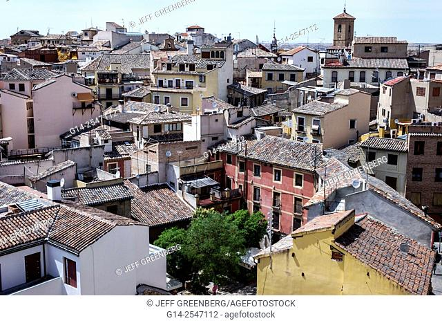 Spain, Europe, Spanish, Toledo, World Heritage Site, historic center, rooftops, city skyline, belltower, Manchegan red clay barrel tiles, building