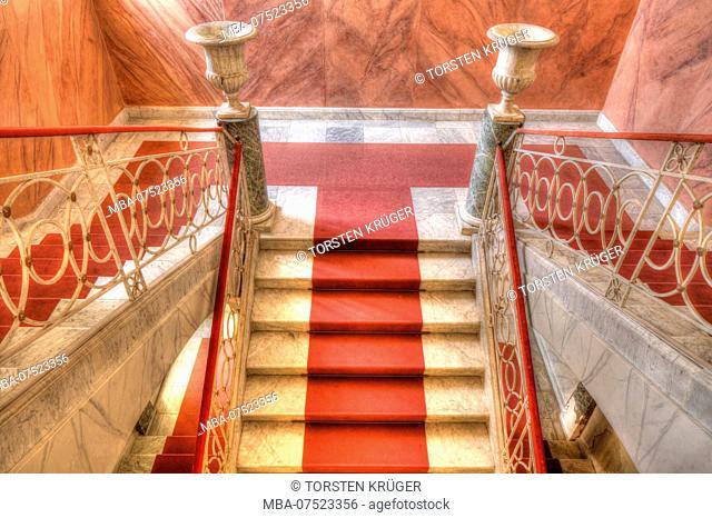 Palazzo Nicolaci, staircase, red carpet, Noto, UNESCO World Heritage cultural site, Val di Noto, Syracuse, Sicily, Italy, Europe