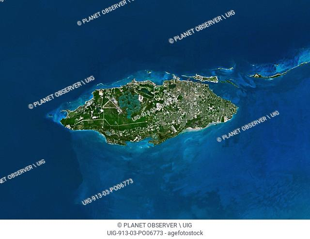 Satellite view of Nassau, Island of New Providence, Bahamas. Nassau is the capital city and largest city of the Bahamas. This image was compiled from data...