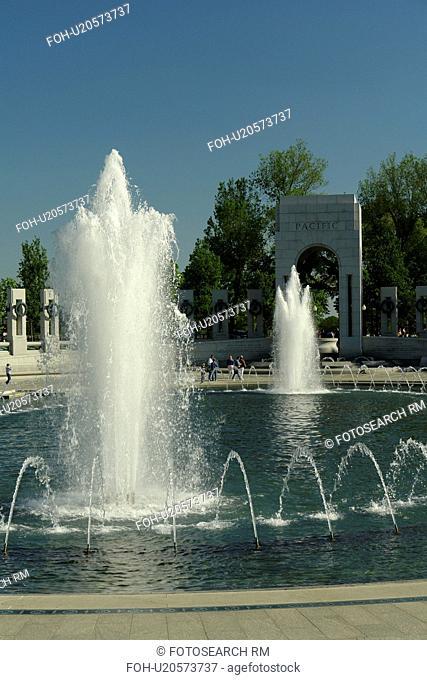 Washington DC, D.C District of Columbia, World War II Memorial, Fountain, National Mall, Memorial Parks, Nation's Capital