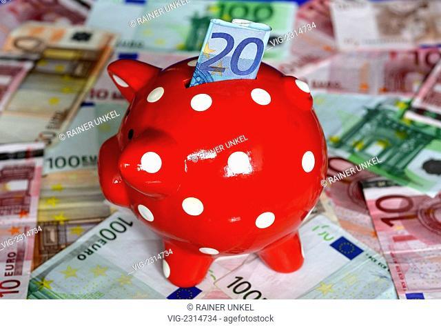 GERMANY : A piggy bank and money / Euro notes - Bonn, Northrhine-, Germany, 20/10/2010