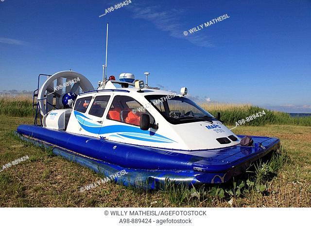 parking small hovercraft at port Munalaiu near Paernu, Estonia, Baltic Nation, Eastern Europe