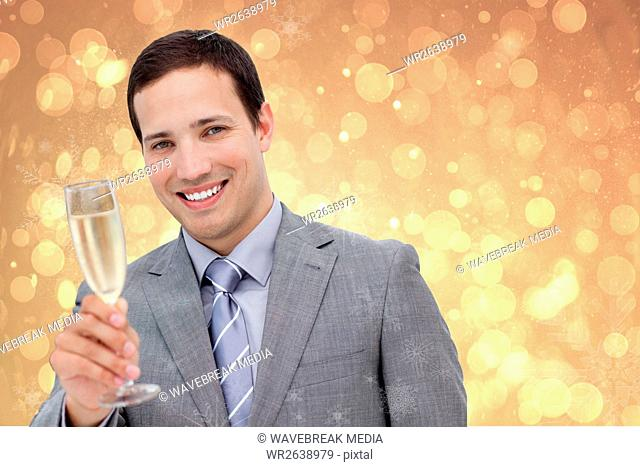 Happy Businessman with Champagne on Blurry Background Design