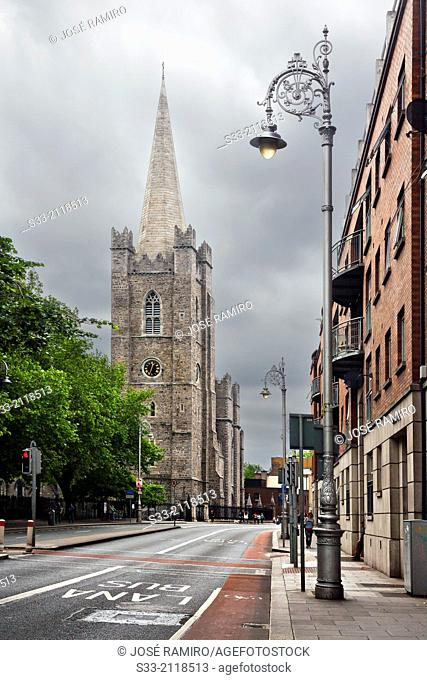 Patrick street and St. Patrick's Cathedral in Dublin. Ireland