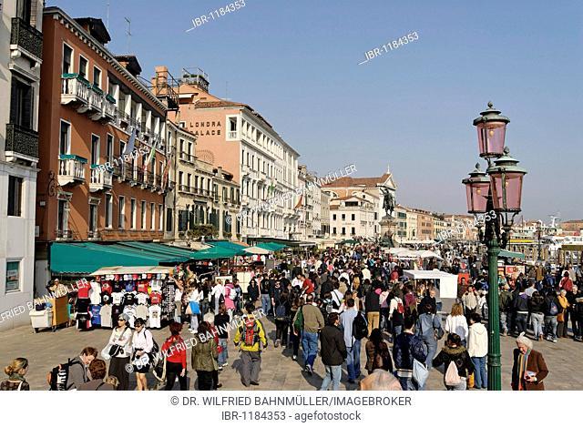 At the Bridge of Sighs, Ponte dei Sospiri with Riva dei Schiavoni, San Zaccaria at the Piazza S. Marco, Venice, Venezia, Italy, Europe