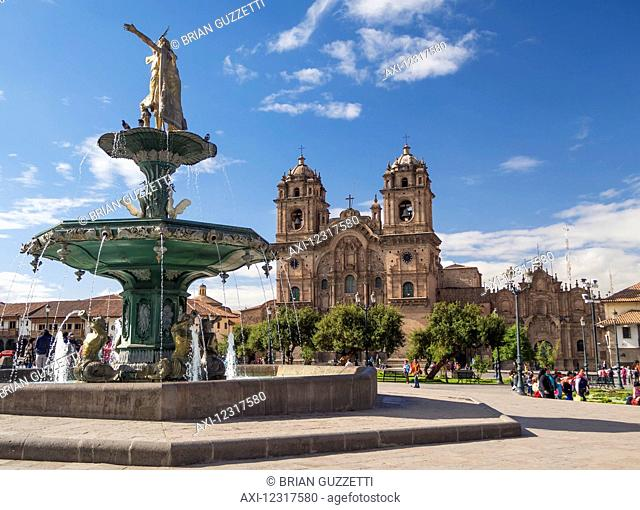 The Plaza de Armas with the Catedral de Santa Catalina in the background; Cusco, Peru