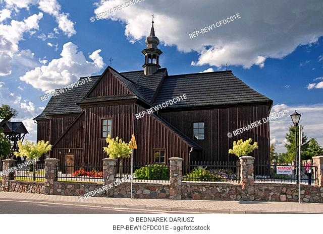 Assumption of Holy Mary`s Church in Deby Szlacheckie, village in Greater Poland voivodeship. Poland. The church was built in 1756