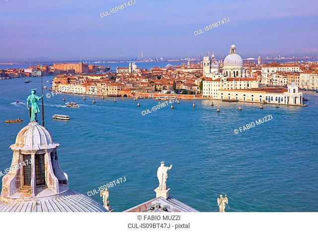 High angle view of Giudecca canal with cityscape from San Giorgio Maggiore church tower , Venice, Veneto, Italy