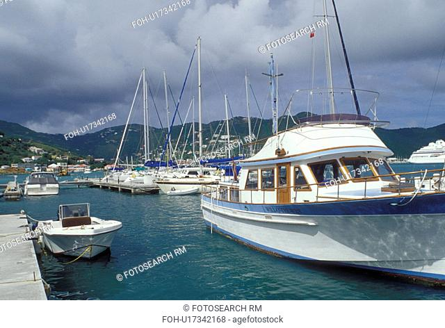 Tortola, British Virgin Islands, Road Town, Caribbean, BVI, Boats docked at a yacht club on the Caribbean Sea on the island of Tortola