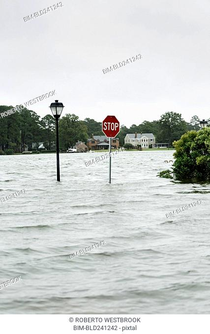 Flooding around stop sign and streetlamp
