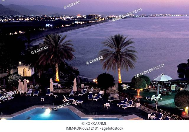 Crowne Plaza Hotel, view of the terrace, swimming pool, Muscat, Oman, Middle East