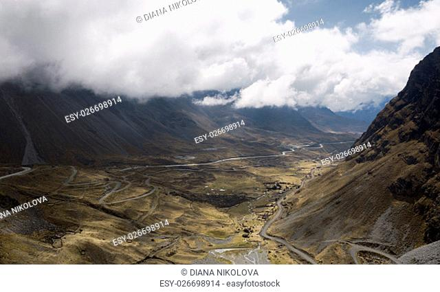 Panoramic view of North Yongas landscape with low clouds, La Paz, Bolivia