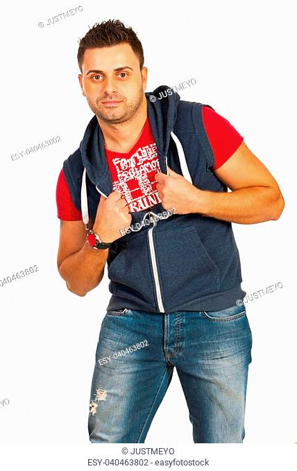 Urban man dancing isolated on white background