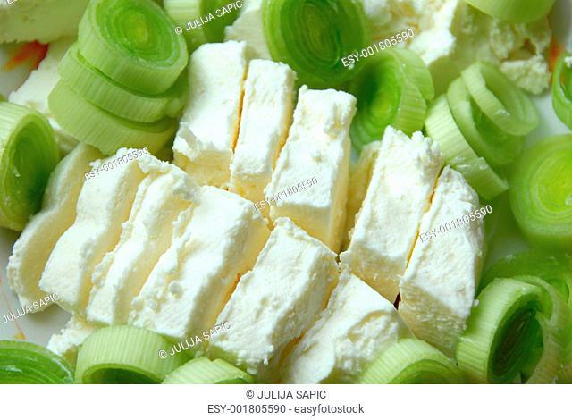 Leek cheese background