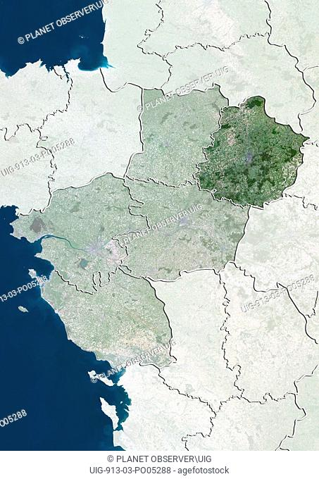 Departement of Sarthe, France, True Colour Satellite Image